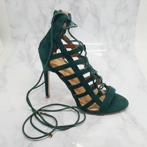 Size 7, Green Lace-up Heels